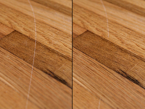 Before and after rubbing with raw walnut meat. This image was not  photoshopped other than to place images side by side. - Repairing Scratched Hardwood Floors With Walnuts Review €� Does It